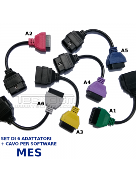 Set 6 adattatori per software diagnostico Mes adattatori A1 A2 A3 A4 A5 A6 diagnosi Fiat