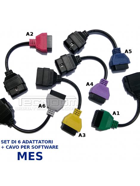 Set 6 adattatori per software diagnostico Mes adattatori A1 A2 A3 A4 A5 A6 diagnosi Fiat