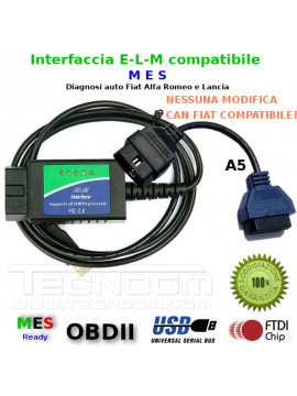 Interfaccia diagnosi e adattatore A5 per diagnosi con Multiecuscaner FIAT ALFA LANCIA