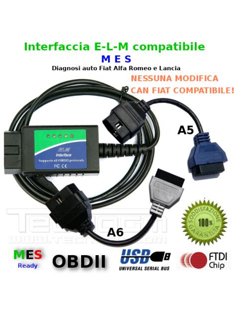 Interfaccia diagnosi e adattatori A5 e A6 per diagnosi con Multiecuscaner FIAT ALFA LANCIA