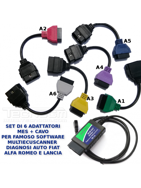 Set cavi per software diagnostico MultiECUScan adattatori ELM A1 A2 A3 A4 A5 A6 diagnosi Fiat