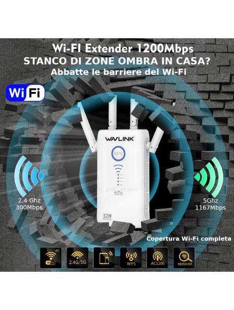 AMPLIFICATORE SEGNALE WIFI 5 GHZ AC1200 SUPER RIPETITORE FIBRA ROUTER