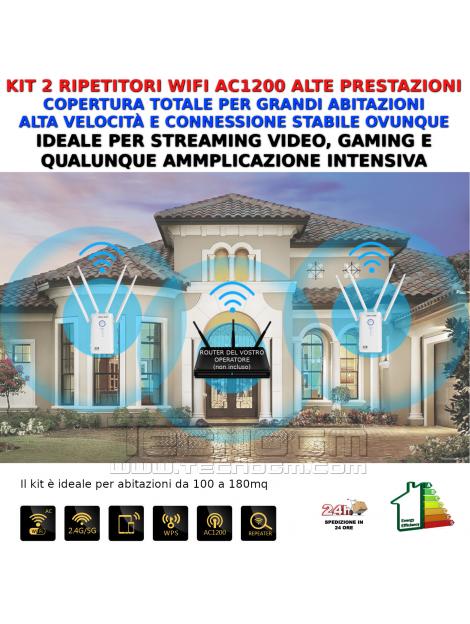 Kit 2 amplificatori WiFi AC1200 copertura grandi abitazioni alta velocità