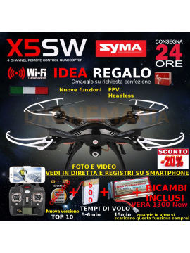 Drone SYMA X5SW FPV HEADLESS CAMERA HD real time WiFi 2 BATTERIE + RICAMBI
