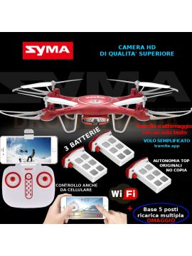 Drone Syma X5UW foto video guida da radiocomando o smartphone video in diretta 3 batterie