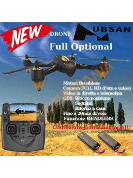 "Drone Hubsan H501S GPS FOLLOW ME FOTO VIDEO in diretta monitor 4,3"" camera 1080p 2 batterie"