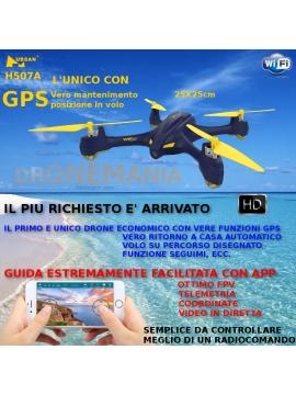 Drone GPS Hubsan H507A video in diretta telemetria guida da smarphone APP volo autonomo ritorno a punto partenza
