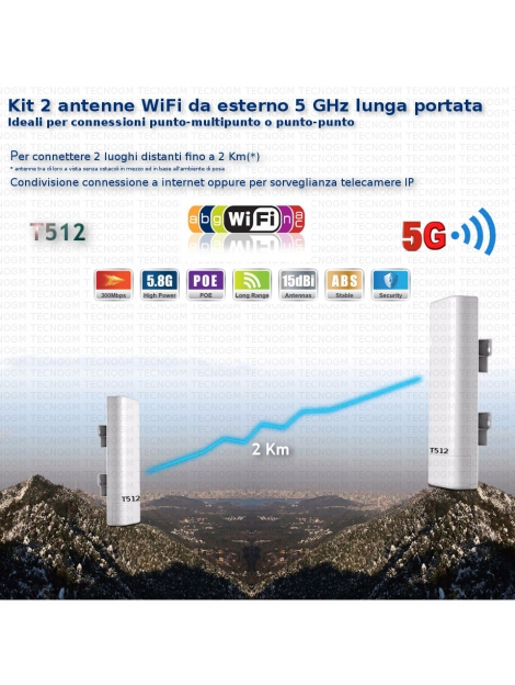 Kit DUE antenne WiFi T512 5 GHz per connessione due locazioni distanti fino a 2Km