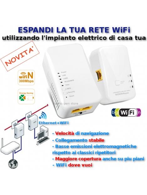 Ripetitore amplificatore WiFi GRID rete elettrica top velocità repeater KIT 2 p