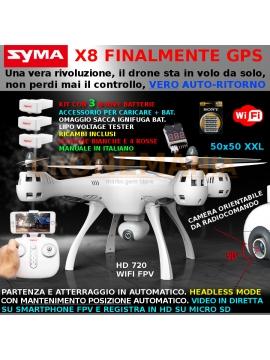 Drone Syma X8 PRO drone GPS camera ruotabile video in diretta su smaprhonr foto video 3 batterie