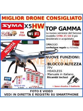 Drone Syma X5HW radiocomando videocamera video su smartphone 3 batterie regalo Natale mantenimento altezza